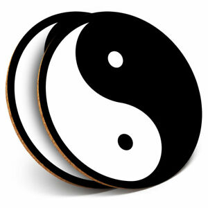 2 x Coasters - Yin Yang Symbol Philosophy Home Gift #4396