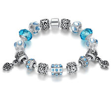 European Style Silver Charms Bracelets Bangle With Murano Beads For Women DIY