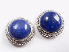 Lapis Lazuli Round w/ Rope Style Accents 925 Sterling Silver Stud Earrings