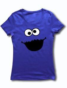 COOKIE MONSTER Cartoon Sesame Street Face Ladies TShirt