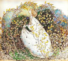 Postcard:Vintage repro - Golden Haired Woman Surrounded by Yellow Leaves, Autumn