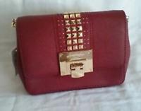 NWT Michael Kors Tina Mini Leather Cross Body Bag Cherry 35H7GT4C5L