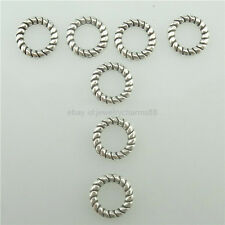 15542 100PCS Alloy Vintage Mini 10mm Twisted Closed Jump ring Ring Spacer Bead