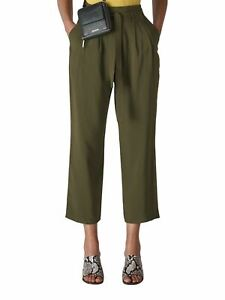 WHISTLES Ladies Belted Casual Crop Trousers Khaki Green UK16 BNWT RRP95