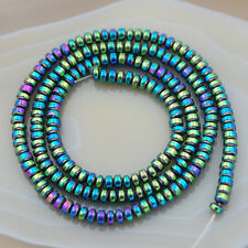 "Hematite Gemstone Rondelle Spacer Beads 16"" 3mm 4mm 6mm 8mm 10mm"