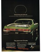1969 CHRYSLER 300 Green 2-door Hardtop Vtg Print Ad