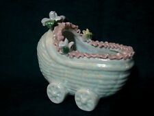 So Sweet Vintage MOTHER OF PEARL BABY CARRIAGE Baby Shower or Nursery Planter