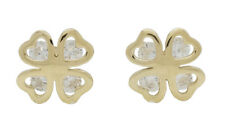 10K Solid Yellow Gold CZ Four-Leaf Clover Flower Earrings [5 Colors]