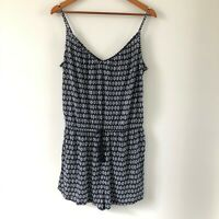 NWT H&M Women's Navy White Patterned Short Playsuit Size EUR M /AUS Size 12-14