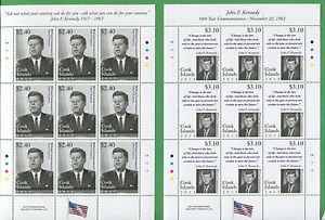 COOK ISLANDS #1476 -77 Set ($9 per pair) x10 JOHN F KENNEDY in Full Sheets - 14