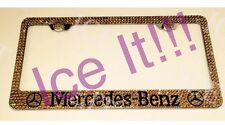 Mercedes Benz W Logo Stainless license plate frame W Gold madeSwarovski Crystals