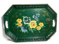 Vintage Tole Metal Tray Green Handpainted Serving Home Decor Floral Colorful