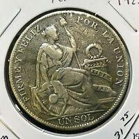 1925 PERU SILVER ONE SOL CROWN COIN