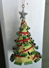 RED AND GREEN GLITTER METAL CHRISTMAS TREE ORNAMENT DECORATION