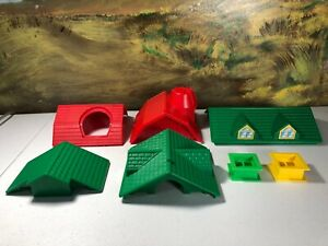 Lincoln Logs replacement red barn roof green house roof windows lot of 7