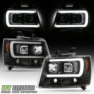 NEW Black 2007-2014 Chevy Suburban Tahoe Avalanche LED DRL Projector Headlights