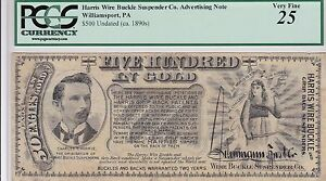 Williamsport PA, $500 IN GOLD Advertising Ad note, PCGS 25, Way Cool!