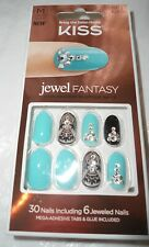 NEW KISS Jewel Fantasy turquoise black KJF03 Faux stone 30 fake press-on nails M