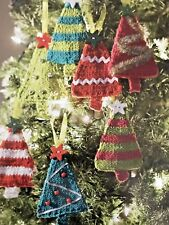 KNITTING PATTERN - COLLECTION OF MINI CHRISTMAS TREE DECORATIONS IN ARAN