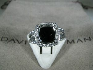DAVID YURMAN AUTHENTIC ALBION 7MM ONYX PAVE DIAMOND RING SIZE 6 D.Y. POUCH