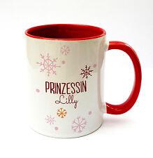 Kaffeetasse Kaffeebecher Becher Tasse Schneeflocken Prinzessin Wunschname ts160