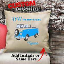 PERSONALISED VW  CAMPER VAN  MOTOR HOME  RV BLUE  Classic  Cushion 18X18 INCH
