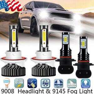 For Dodge Durango 2007-2009 Upgrade F2 LED Headlight Fog Light Bulb Kit 6000K