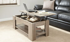 Home Source Caspian Lift Top Coffee Table With Storage and Shelf Walnut 38 X