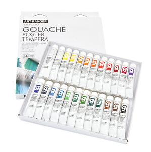 (41,49€/l) Gouache-Künstlerfarben, Farbset mit 24 Tuben a 12 ml, Tempera, water