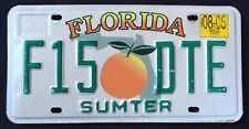 "FLORIDA "" ORANGE GREEN MAP - SUMTER COUNTY "" 2005 FL Vintage License Plate"