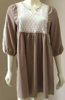 Womens Umgee USA Brown Boho Hippie Floral Lace Tunic Mini Dress Size S