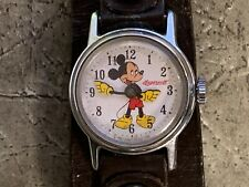 """1950's Ingersoll Mickey Mouse Watch w/ Leather Band """"Non-Working"""" -Ships Free-"""