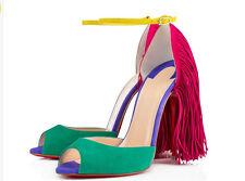 2018 Roman Womens Peep Toe High Heel Tassels Sandals Ankle Strap Pumps Shoe Size