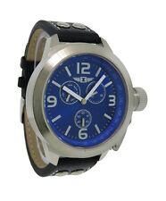 I by Invicta IBI70113-004 Men's Round Analog Blue Day Date Black Leather Watch