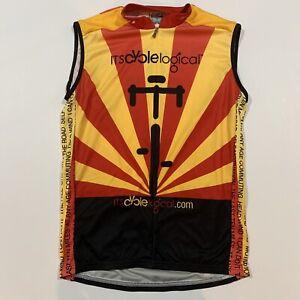 Louis Garneau Sleeveless Bicycle Cycling Racing 1/2 Zip Jersey Setting Sun - L