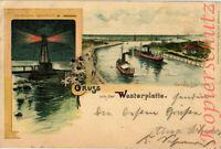 AK Westerplatte bei Danzig, Hafen Einfahrt, Leuchtthurm, 1904, 07/04