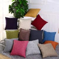 "16"" Cotton Linen Vintage Pillow Case Sofa Waist Throw Cushion Solid Cover Zipper"