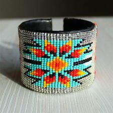 BR508-206 Crystal Artisan Made Native Medallion Star Cuff Glass Beaded Bracelet