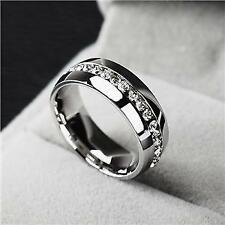 WEDDING ETERNITY TOP STAINLESS STEEL BAND RING SIZE UK R US 9 SILVER SWA CRYSTAL