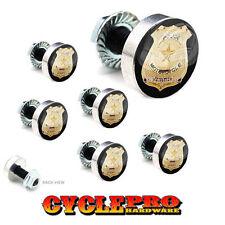 7 Pcs Billet Fairing Windshield Bolt Kit For Harley - GOLD POLICE BADGE - 167