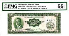 PMG 66 GEM UNC - Philippines 1949 200 Pesos