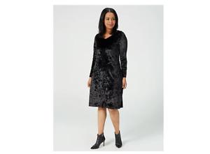 Kim & Co Crushed Velvet Long Sleeve Flared Dress Black Size XL BNWT