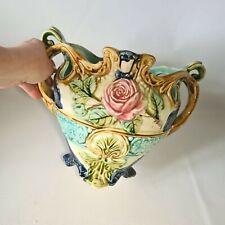 🔅ancien cache-pot en barbotine à décor de rose faience d' Onnaing