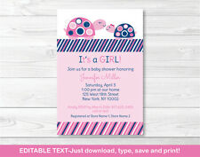 Mod Pink Turtle Mom and Baby Printable Baby Shower Invitation Editable PDF