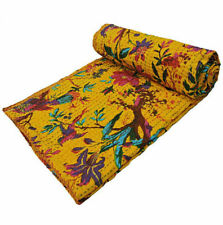 Vintage Handmade Kantha Bedspread Throw.Cotton Blanket Indian Quilt Gudari Home