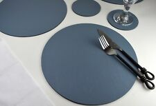Set 12 Vintage Grey Bonded Leather Round Placemats & 8 Coasters UK Made Giftag