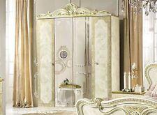 Baroque High Gloss Wardrobe Cabinet with Mirror 4türen Italien Cream Beige