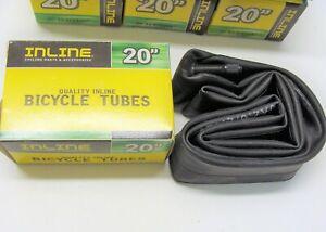 """~ New Inline 20"""" x 2.0-2.125"""" Bicycle Inner Tube 35mm Schrader Valve BMX ~"""