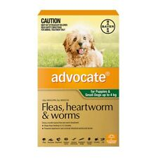ADVOCATE for Dogs 3 Pipettes Up to 4 Kg GREEN Heartworm Flea Worm Control