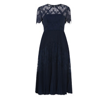 Whistles --- Bianca Lace Dress - Pleated - Navy - New With Tag - Size 10